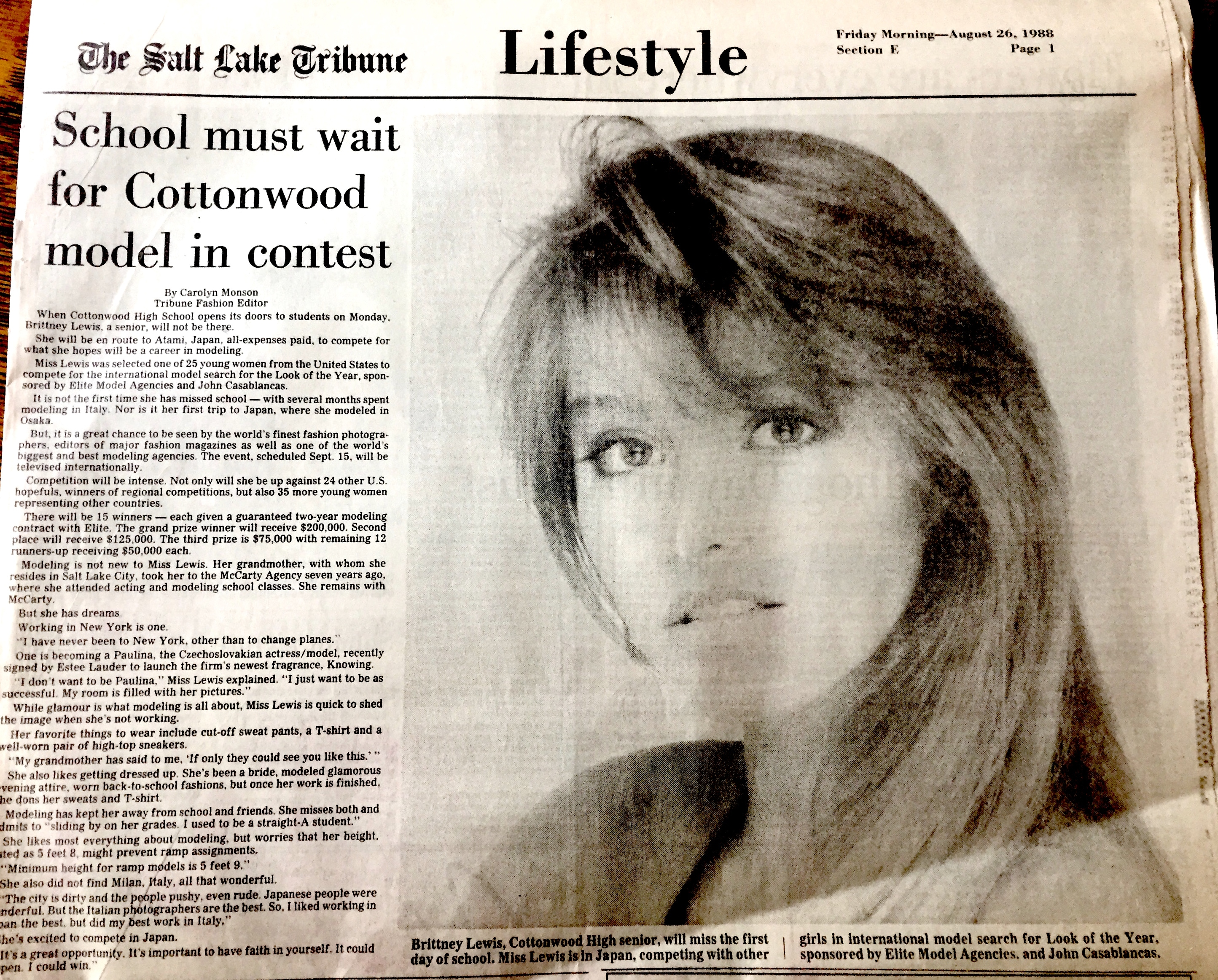 Salt Lake City Tribune article on Brittney Lewis right before her trip to  Japan, August 1988