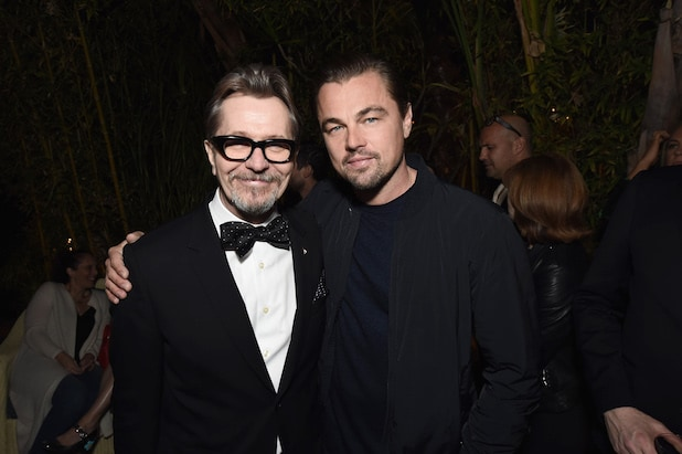"Actor Gary Oldman, left, and actor Leonardo DiCaprio at the Focus Features ""Darkest Hour"" Special Reception at Chateau Marmont."