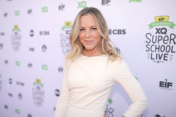 EIF Presents: XQ Super School Live at the Barker Hangar - Red Carpet - Maria Bello