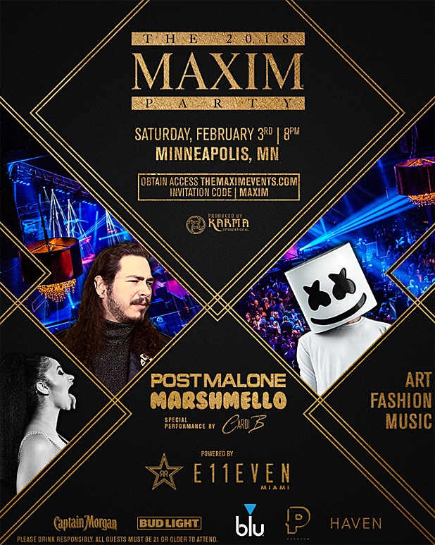 Maxim Super Bowl LII Party Invite copy