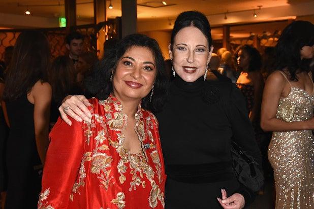 Hollywood Foreign Press Association president Meher Tatna (L) and Nancy Lesser