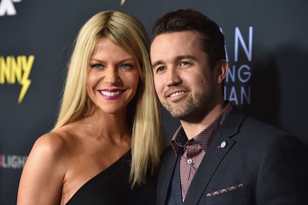 "Premiere Of FXX's ""It's Always Sunny in Philadelphia"" 10th Season And ""Man Seeking Woman"" - Red Carpet - Rob McElhenney Kaitlin Olson"
