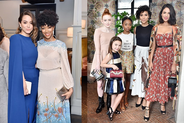Chloe Bennet (L) and Sonequa Martin-Green Sadie Sink, Skai Jackson, Alexandra Shipp, Eiza Gonzalez, all wearing Dior, and Brooklynn Prince