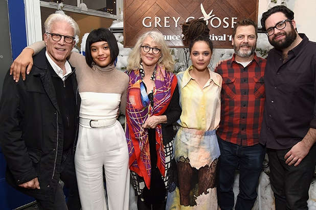 """PARK CITY, UT - JANUARY 18: (L-R) Ted Danson, Kiersey Clemons, Blythe Danner, Sasha Lane, Nick Offerman and director Brett Haley attend the """"Hearts Beat Loud"""" after-party at the Grey Goose Blue Door during Sundance Film Festival on January 18, 2018 in Park City, Utah. (Photo by Michael Kovac/Getty Images for Grey Goose Vodka)"""