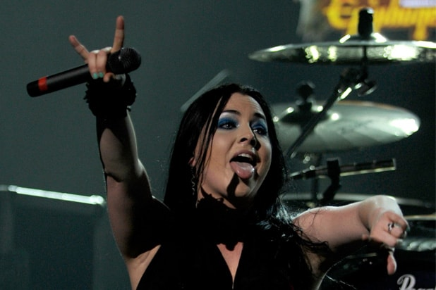 Evanescence singer Amy Lee performs on stage during the 2012 Revolver Golden Gods Award Show at Club Nokia on April 11, 2012