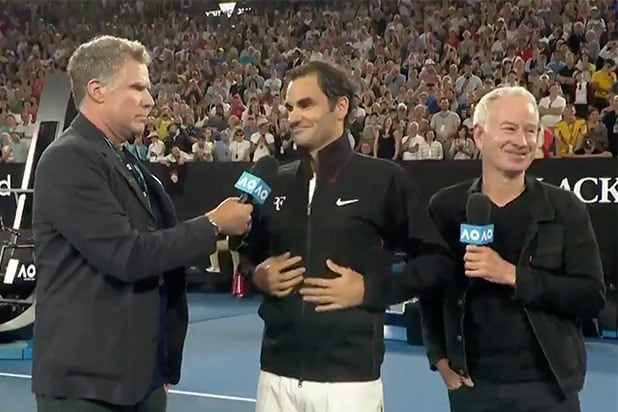 Will Ferrell's Ron Burgundy interviews 'silky gazelle' Roger Federer