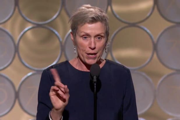 frances mcdormand golden globes acceptance speech censored