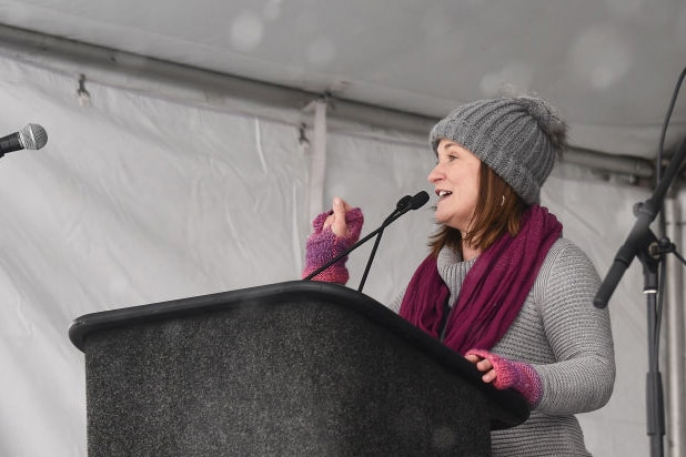 US Senate candidate Jenny Wilson speaks onstage at the Respect Rally in Park City during the 2018 Sundance Film Festival on January 20th, 2018 in Park City, Utah.