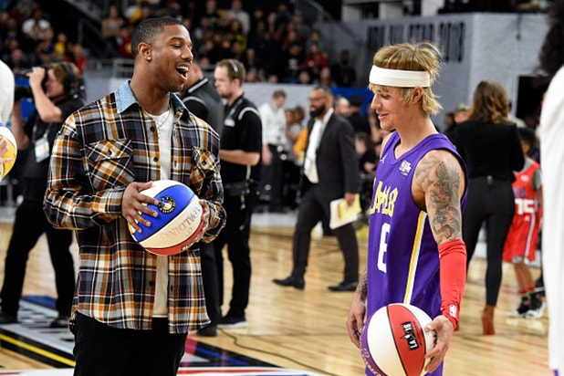 Michael B. Jordan Justin Bieber NBA Celebrity Game