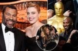 Nominees Jordan Peele, Greta Gerwig, Alison Janney, and Kobe Bryant on the Hollywood party circuit earlier this season.