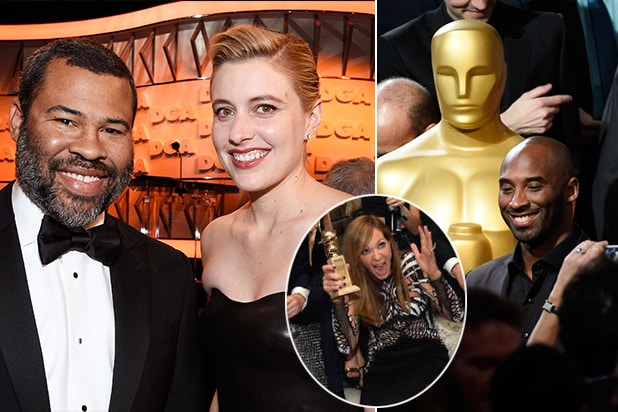 Nominees Jordan Peele, Greta Gerwig, Alison Janney, and Kobe Bryant on the Hollywood party circuit earlier this season.