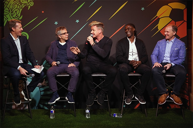 """Rob Stone, David Worthen, Gordon Ramsay, Mario Melchiot and Eric Shanks attend """"PHENOMS"""" 2018 Soccer Documentary Mini-Series Launch E..60 players, shot in 20 countries by 12 directors. [contextual-link post_id=""""1722937"""" title=""""Also Read"""" link_title=""""Fox Sports Rallies Viewers for Men's World Cup Without US: 'Greatest Sporting Event on Earth'"""" target=""""""""]"""