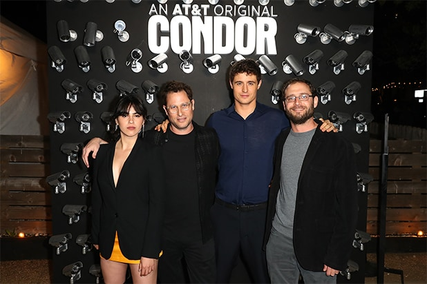 Jason Smilovic (Showrunner & EP) Todd Katzberg (Co-EP), and two of the stars from our series Max Irons and Leem Lubany. Condor had its world premiere last night. It premieres on air June 6 on AUDIENCE Network. MGM Television and Skydance Television produced the series