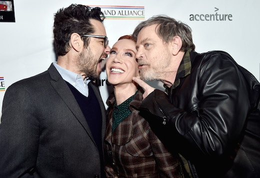 J.J. Abrams, Kathy Griffin, and Mark Hamill attend the Oscar Wilde Awards 2018 at Bad Robot on March 1, 2018 in Santa Monica, California