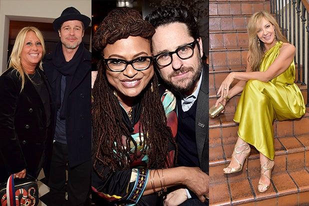 Manager Cynthia Pett-Dante, Brad Pitt, Ava DuVernay, JJ Abrams, and Allison Janney on the Oscar party scene on Thursday, Mar 1. (Getty Images)
