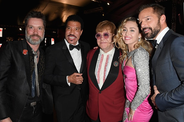Rufus Wainwright, Lionel Richie, Sir Elton John, Miley Cyrus, and Ricky Martin attend Elton John AIDS Foundation 26th Annual Academy Awards