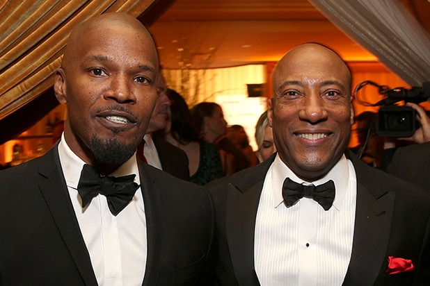 LS, CA - MARCH 04: Jamie Foxx and Byron Allen attend Byron Allen's Oscar Gala Viewing Party to Support The Children's Hospital Los Angeles at the Beverly Wilshire Four Seasons Hotel