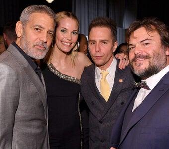 George Clooney, Leslie Bibb, Sam Rockwell, and Jack Black