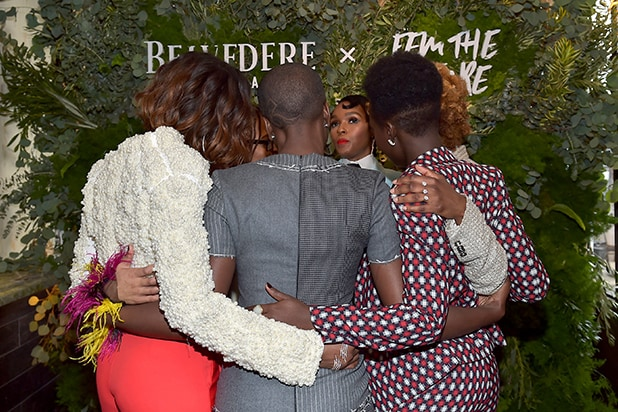 "Yvonne Orji, Tessa Thompson, Ava Duvernay, Lupita Nyong'o, Danai Gurira and Dee Rees embrace as Janelle Monae and Belvedere Vodka kick-off ""A Beautiful Future"" Campaign with Fem the Future Brunch"