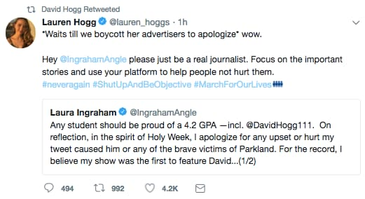 david hogg rt laura ingraham