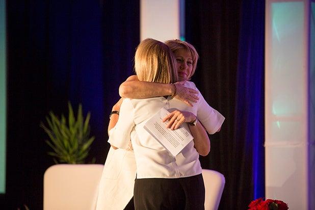 Sharon Waxman and Katie couric Power Women Breakfast 2018 Austin