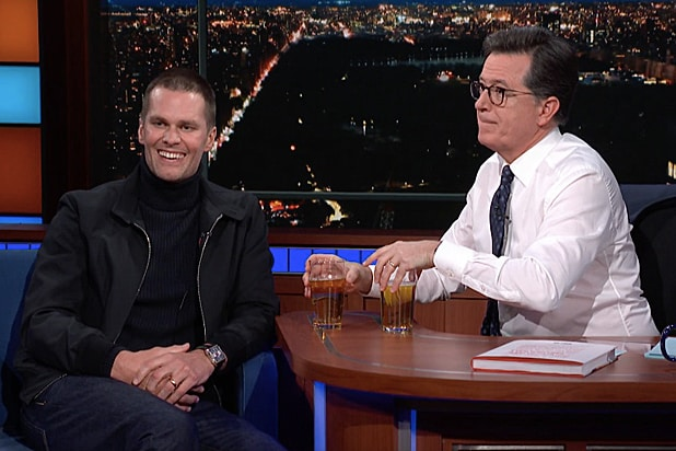 Tom Brady and Stephen Colbert