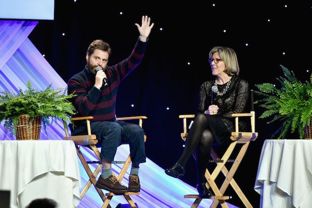 BEVERLY HILLS, CA - MARCH 19: Zach Galifianakis (L) and honoree Dr. Karen C. Lamp, MD speak on stage during the Venice Family Clinic Silver Circle Gala at The Beverly Hilton Hotel on March 19, 2018 in Beverly Hills, California. (Photo by Emma McIntyre/Getty Images for Venice Family Clinic)