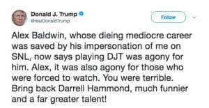 donald trump tweet alex baldwin snl