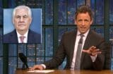 late night with seth meyers donald trump is afraid of tall people rex tillerson