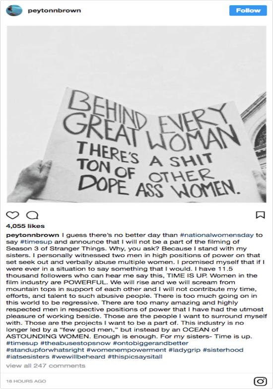 Duffer Stranger Things abuse allegation instagram
