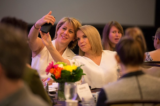 Sharon Waxman and Katie couric selfie Power Women Breakfast 2018 Austin