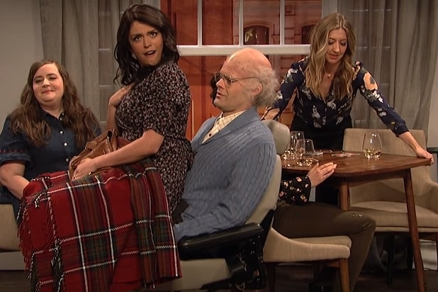 'SNL': Elderly Bill Hader Cracks Up While Trying to Make a Baby with Cecily Strong During Game Night (Video)