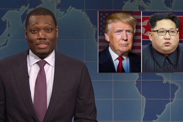 snl saturday night live weekend update michael che donald trump kim jong un scared straight