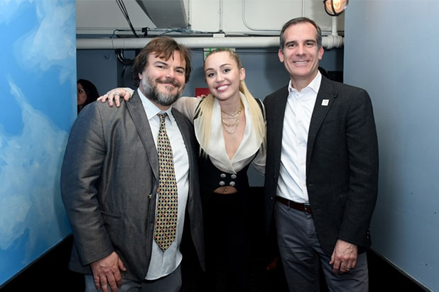 Jack Black, Miley Cyrus, Eric Garcetti - GettyImages-943203236