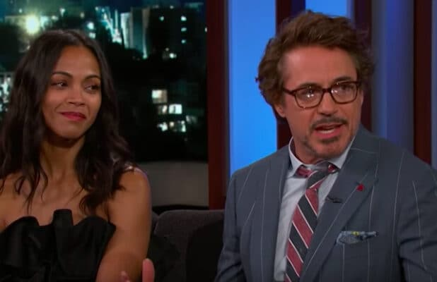 Robert Downey Jr. and Zoe Saldana on 'Kimmel'