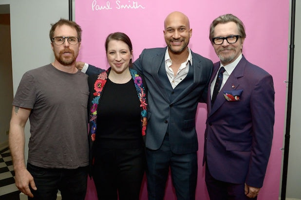 LOS ANGELES, CA - APRIL 10: (L-R) Sam Rockwell, Elisa Pugliese, Keegan-Michael Key, and Gary Oldman, wearing Paul Smith, attend Paul Smith's intimate dinner with Gary Oldman at Chateau Marmont on April 10, 2018 in Los Angeles, California. (Photo by Charley Gallay/Getty Images for Paul Smith)