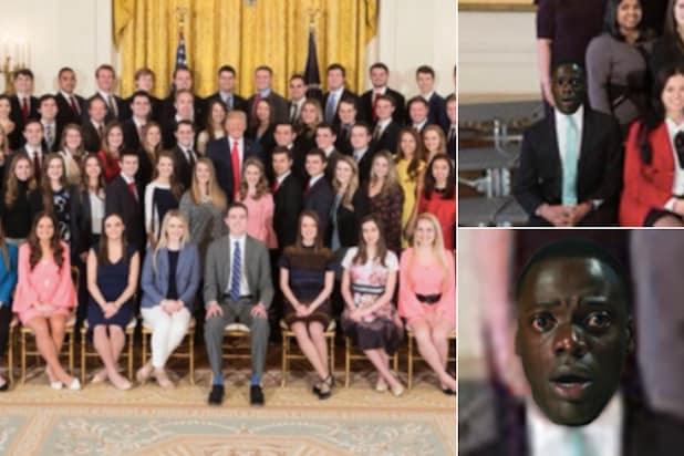 white house intern photo get out meme