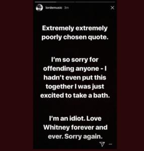 Lorde Instagram story