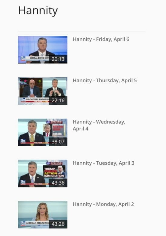 Sean Hannity Web Episodes Screen Grab