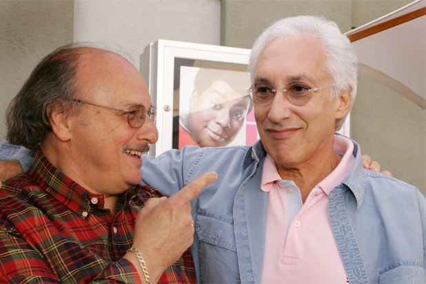 Actor Dennis Franz and show creator Steven Bochco attend a NYPD Blue press conference for the Television Crictics Association winter tour on January 20, 2005 at the 20th Century Fox studio lot in Los Angeles, California