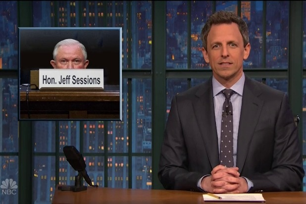 late night with seth meyers jeff sessions needs a cushion
