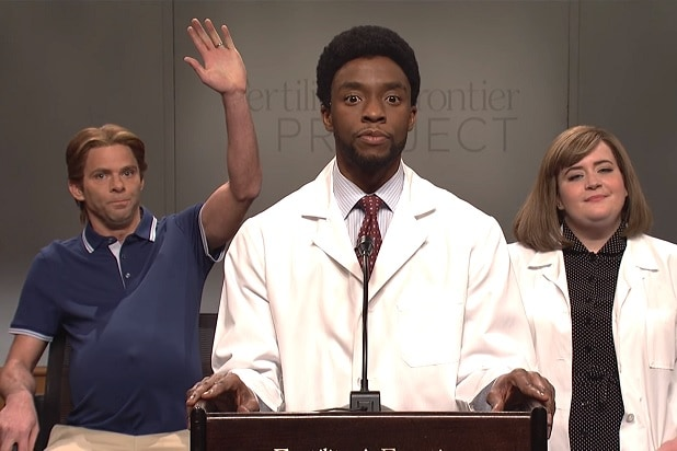 'SNL': A Man Finally Feels What Pregnancy is Like Thanks to Doctor Chadwick Boseman (Video)