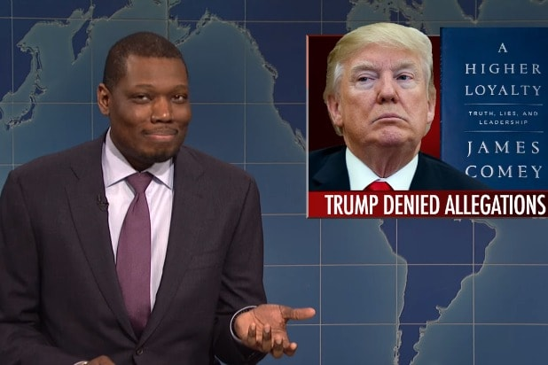 'SNL' Weekend Update's Michael Che Jokes that Trump 'Being Into Pee Pee Is  Kind of Charming' (Video)