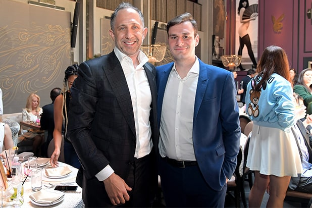 Playboy CEO Ben Kohn (L) and Playboy Chief Creative Officer Cooper Hefner Charley Gallay