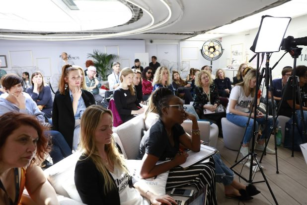 "TheWrap and The Female Quotient Present ""Changing Hollywood: The Road to 50/50 by 2020"" at the 71st Cannes Film Festival, moderated by Sharon Waxman, audience"