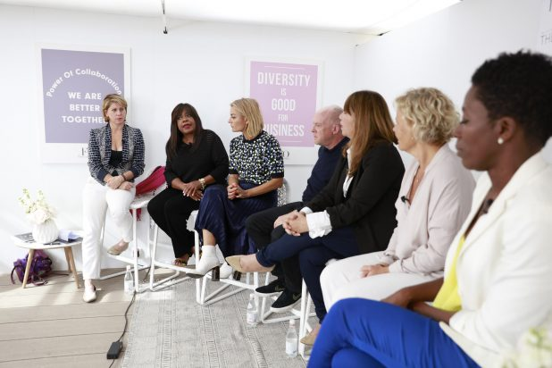 "TheWrap and The Female Quotient Present ""Changing Hollywood: The Road to 50/50 by 2020"" at the 71st Cannes Film Festival, Sharon Waxman, Chaz Ebert, Lucy Walker, Cassian Elwes and Robin Bronk, Anna Serner, Dionne Audain"