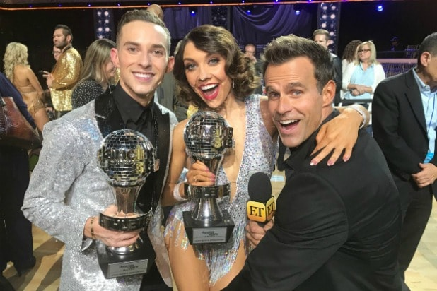 Dancing With the Stars Athletes Winners 2018 Adam Rippon, dancer Jenna Johnson, host Cameron Mathison