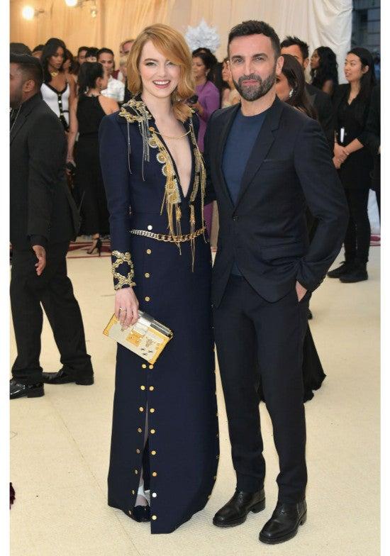 Emma Stone and designer Nicolas Ghesquiere