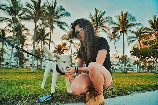 Mariana Bo with Dog Miami