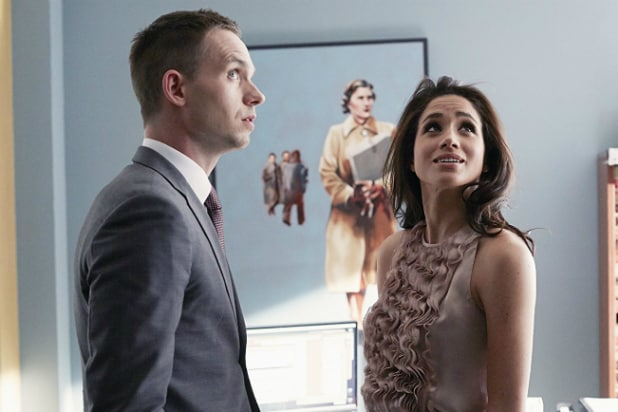 Patrick J. Adams and Meghan Markle on USA's 'Suits'